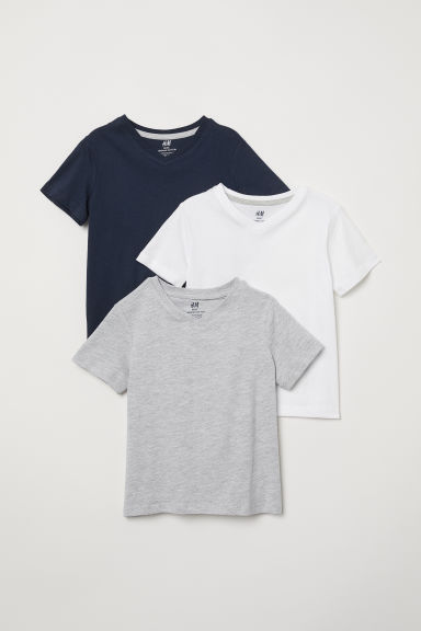 3-pack T-shirts - White/dark blue/gray - Kids | H&M US
