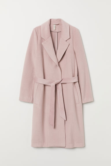 Felted coat with a tie belt - Old rose - Ladies | H&M GB