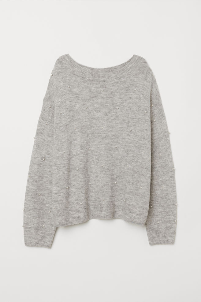 512611103bac Fine-knit Sweater - Light gray melange - Ladies | H&M ...