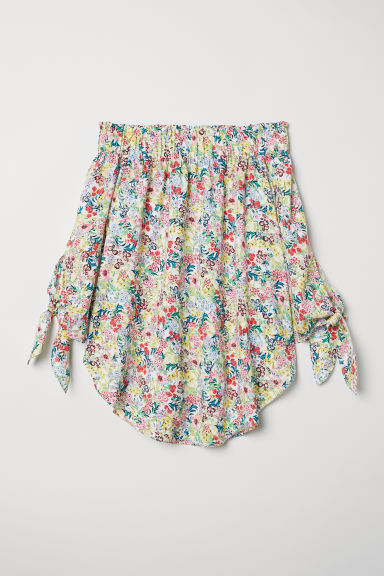 Off-the-shoulder top - White/Floral -  | H&M
