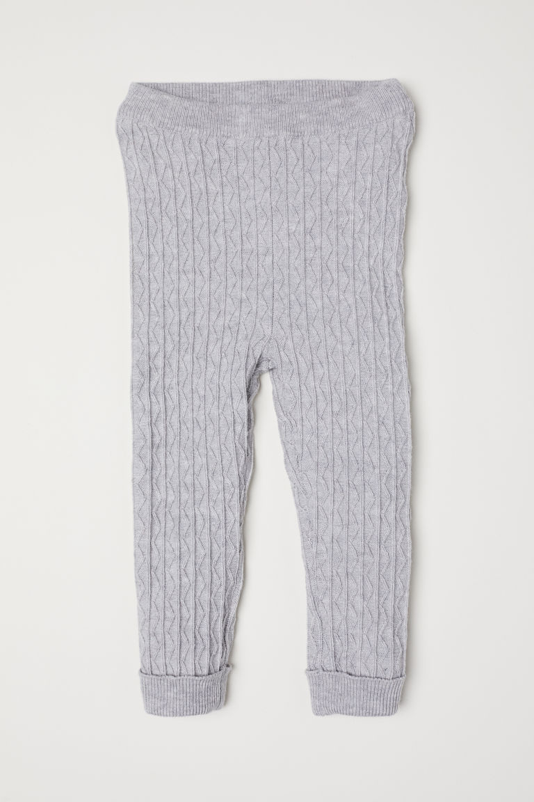 Pattern-knit leggings - Light grey marl - Kids | H&M