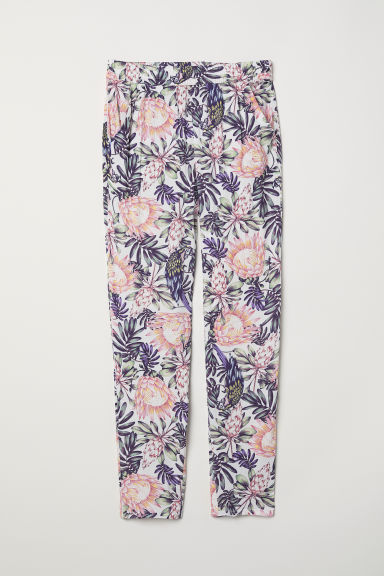 Elasticated viscose trousers - White/Botanical - Ladies | H&M CN