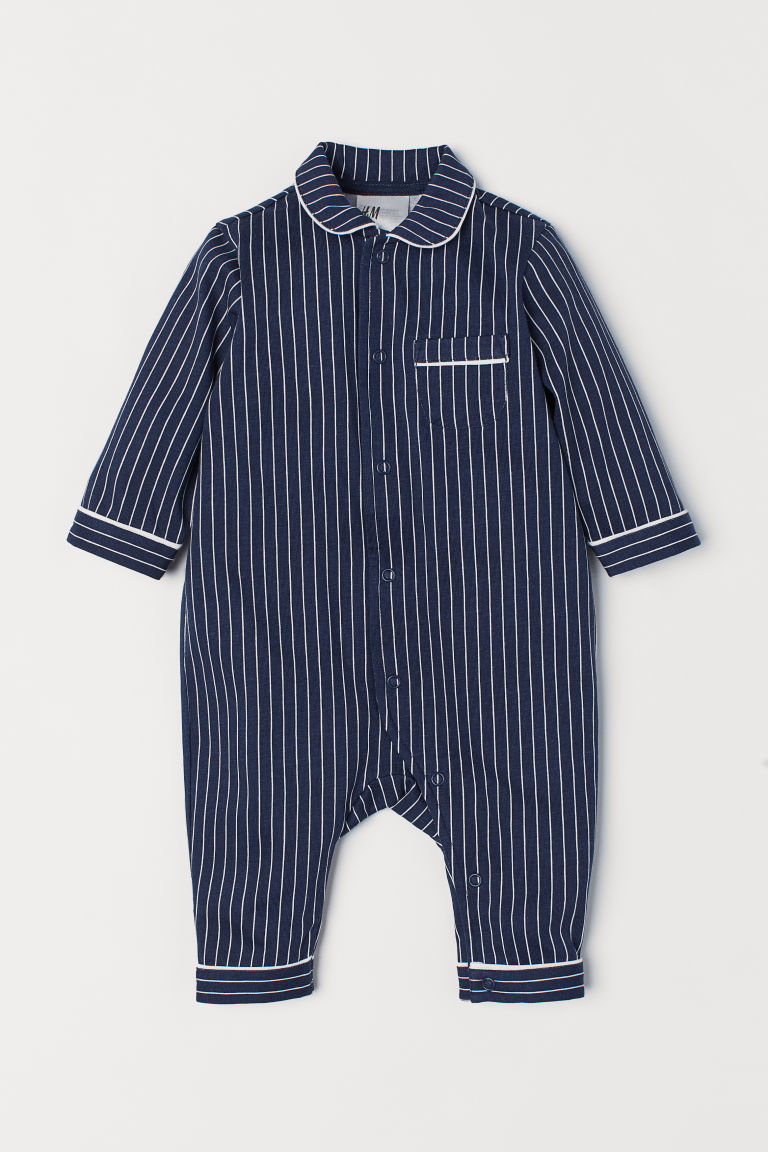All-in-one pyjamas - Dark blue/White striped - Kids | H&M CN