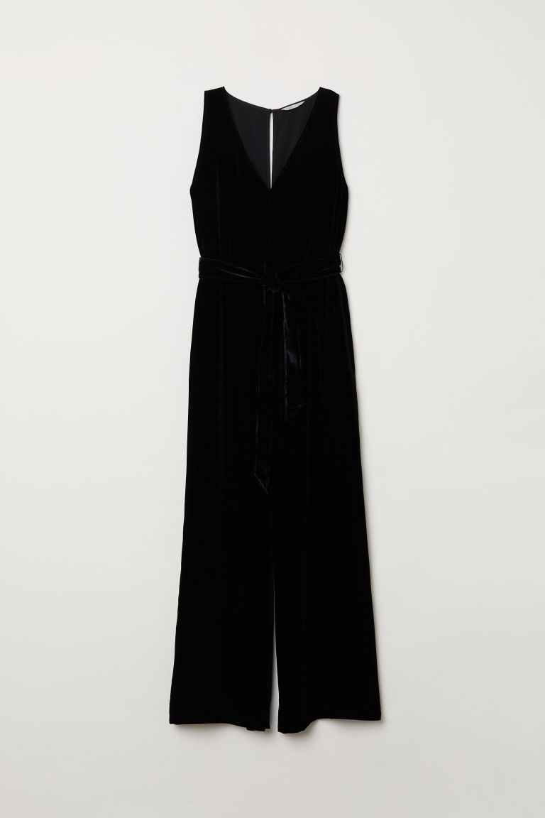 Silk-blend jumpsuit - Black - Ladies | H&M CN