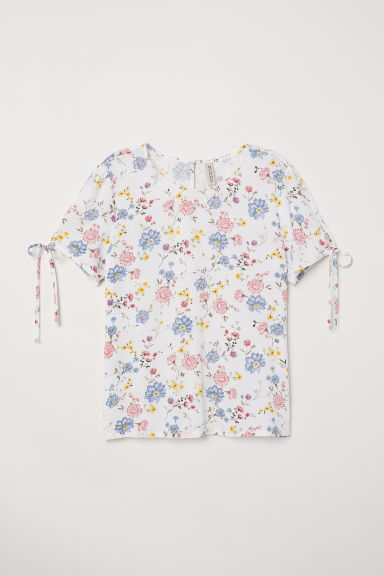 Short-sleeved blouse - White/Floral -  | H&M