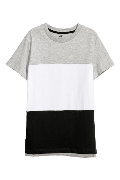 T-shirt en coton - Gris clair chiné/color block -  | H&M BE