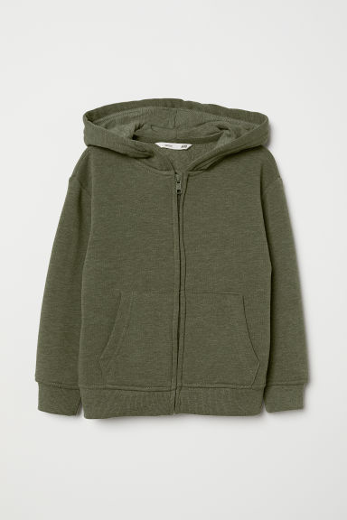 Hooded jacket - Dark khaki green - Kids | H&M