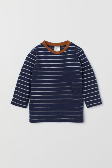 Top in jersey - Blu scuro/righe - BAMBINO | H&M IT
