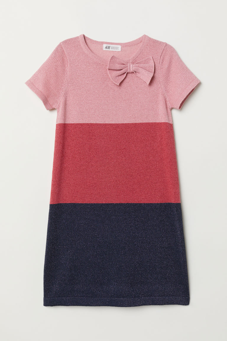 Glittery dress - Pink/Block-patterned - Kids | H&M