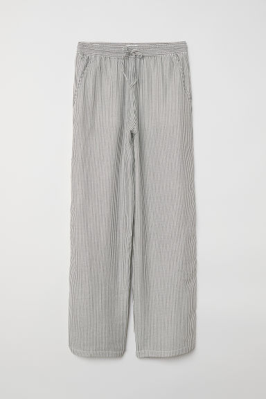 Wide pull-on trousers - White/Black striped -  | H&M
