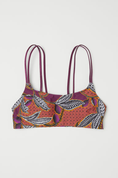 Bikini top - Dark purple/Patterned -  | H&M CN