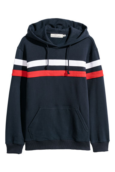 Block-coloured hooded top - Dark blue/Multicoloured -  | H&M