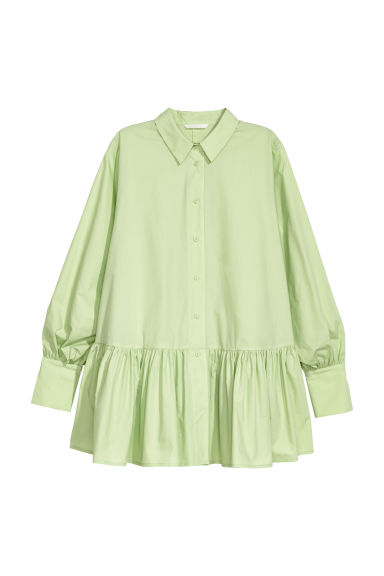 Blouse with a flounced hem - Light green -  | H&M