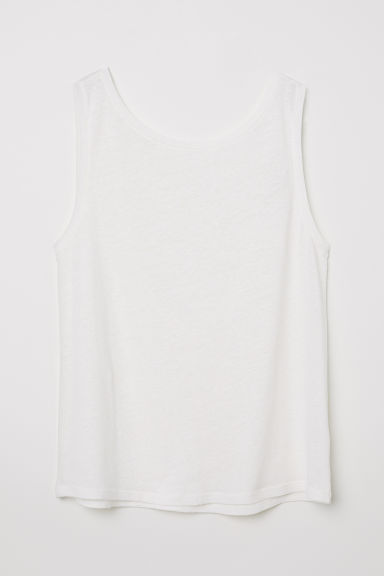 Canotta in misto lino - Bianco naturale - DONNA | H&M IT