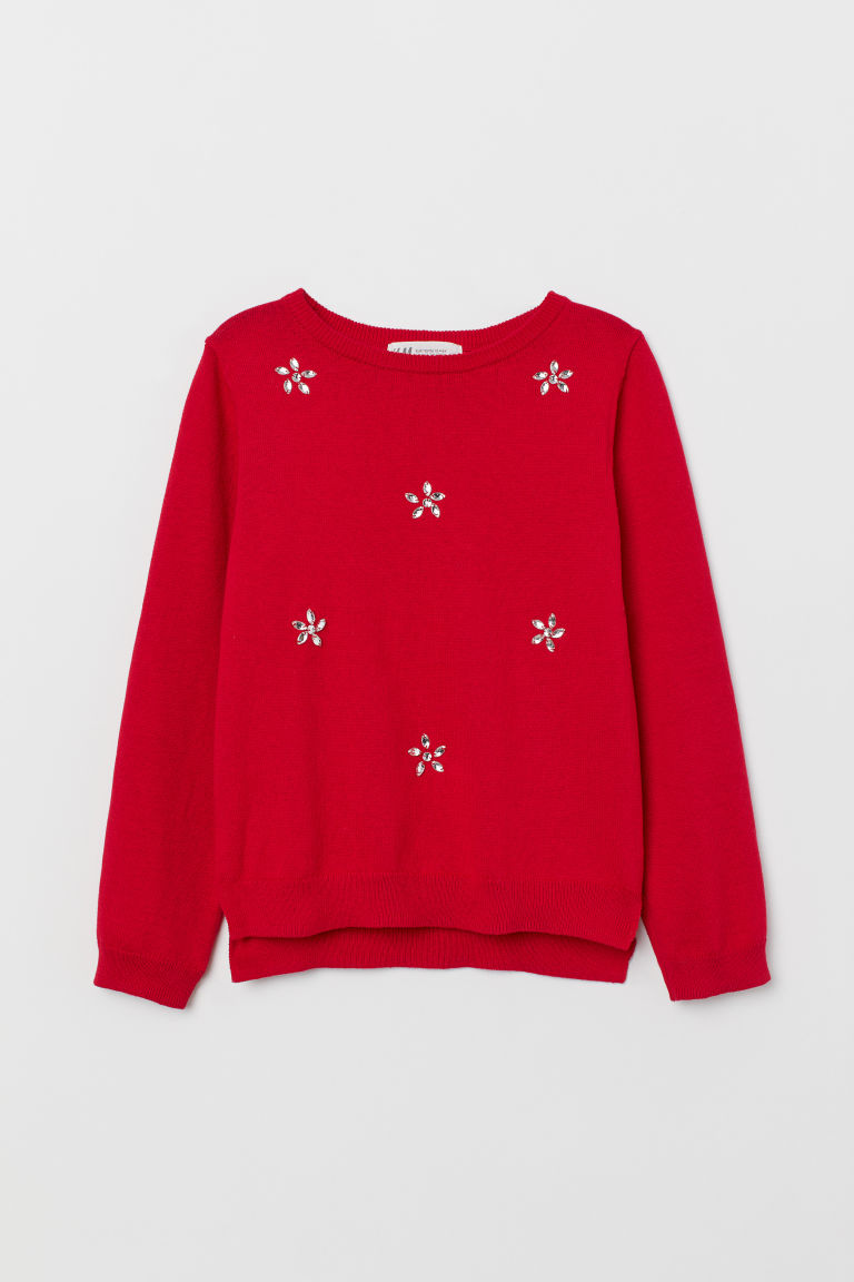 Jumper with appliqués - Red/Sparkly stones - Kids | H&M CN