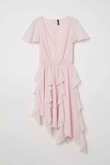 Chiffon dress with flounces - Light pink -  | H&M CN
