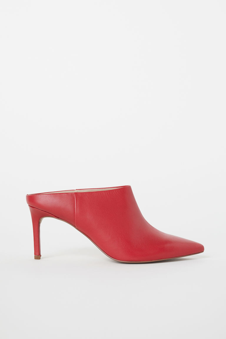 Leather mules - Red - Ladies | H&M IN