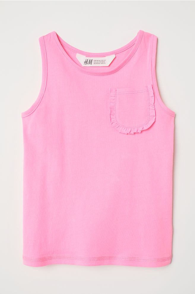 6b3c30d548c77b Tank Top with Chest Pocket - Neon pink - Kids