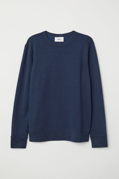 Silk-blend sweatshirt - Dark blue marl - Men | H&M CN