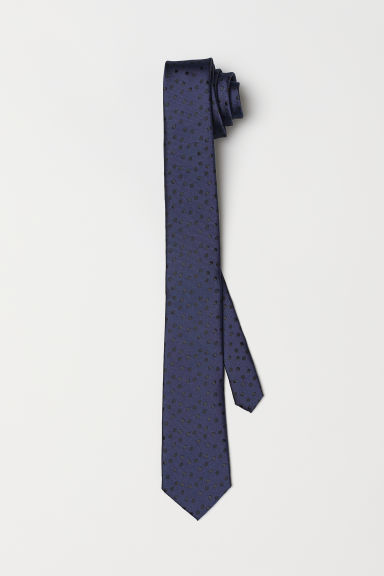 Spotted tie - Dark blue/Black spotted - Men | H&M