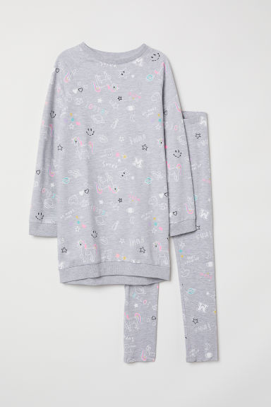 Sweatshirt and leggings - Grey marl/Patterned - Kids | H&M