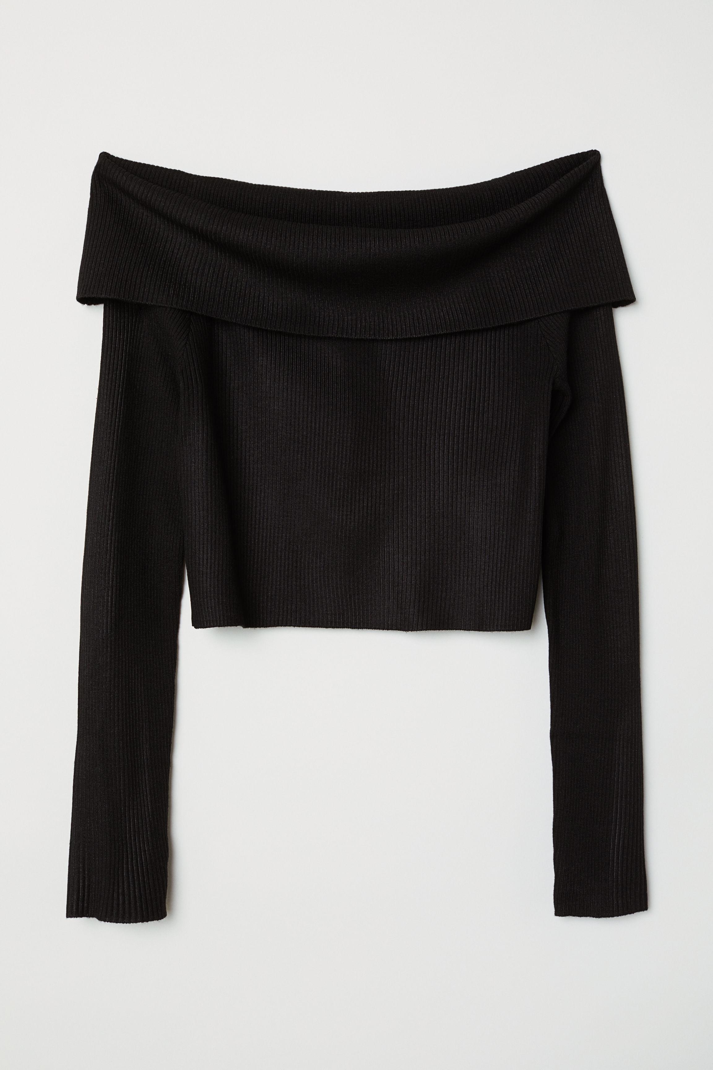 411a1ca8291 Off-the-shoulder jumper - Black -