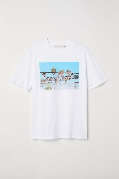 T-shirt con stampa - Bianco/Los Angeles - UOMO | H&M IT