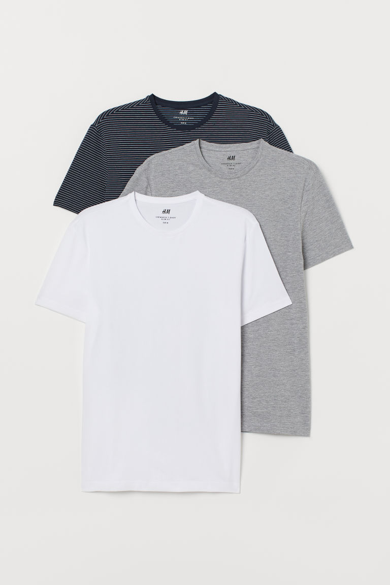 T-shirts Slim Fit, lot de 3 - Bleu foncé/gris chiné/blanc -  | H&M BE