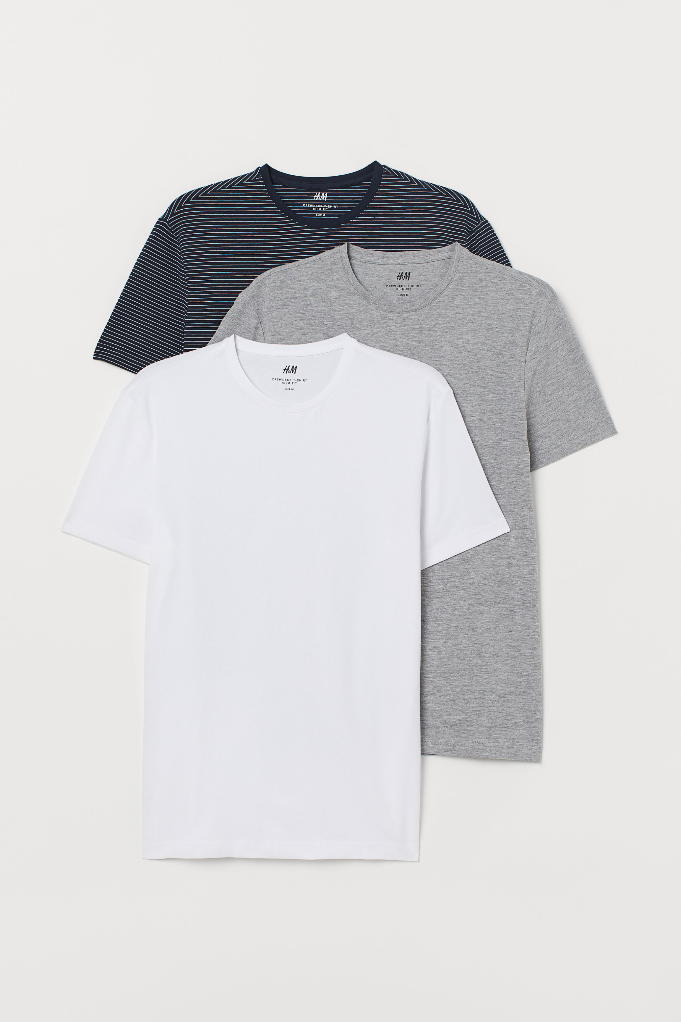 bbe886ede6 3-pack Slim Fit T-shirts - White - Men | H&M US