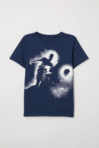Printed T-shirt - Dark blue/Footballer - Kids | H&M