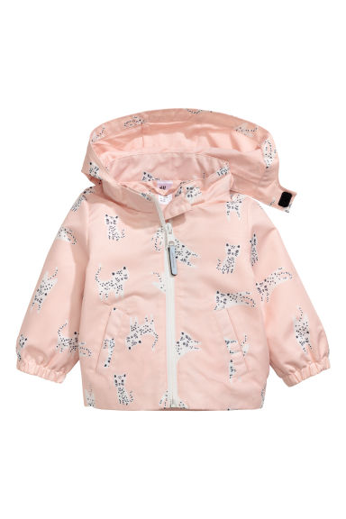 Hooded outdoor jacket - Powder pink/Patterned - Kids | H&M