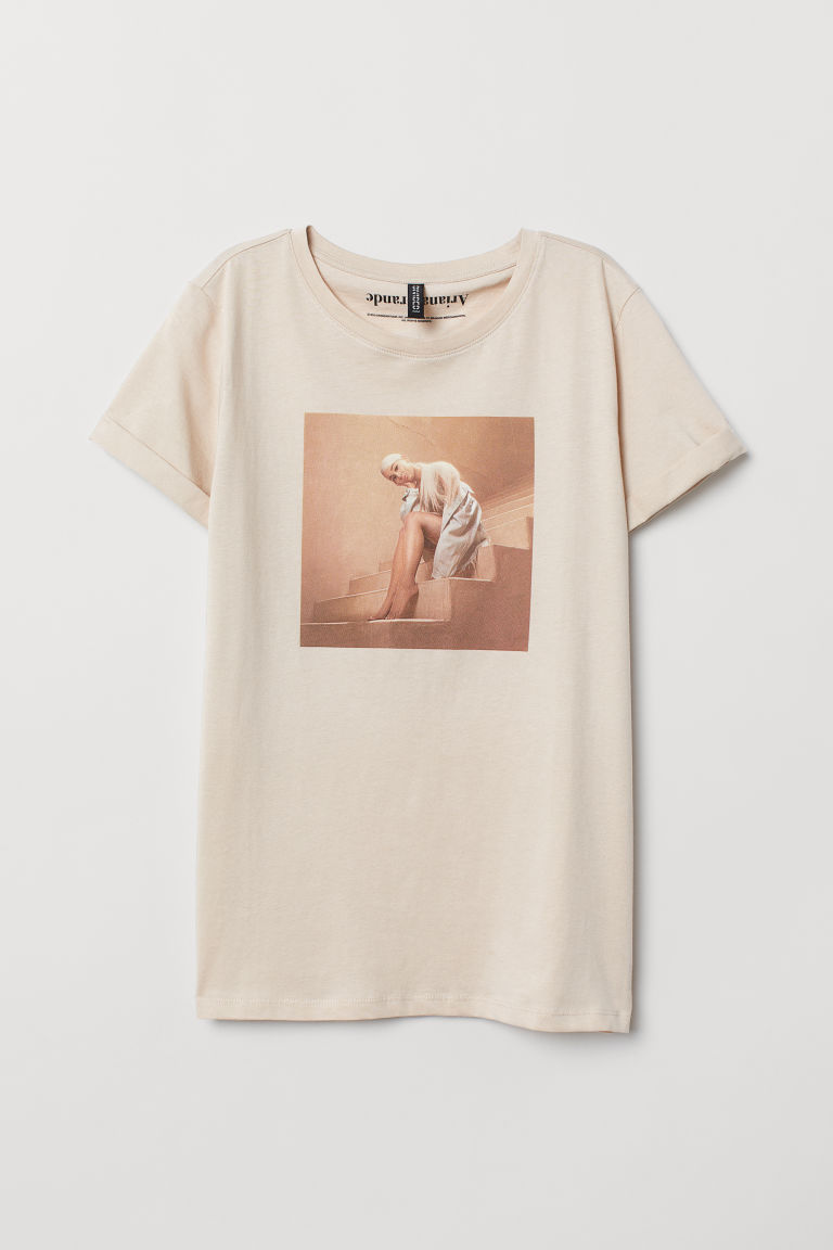 T-shirt with a motif - Light beige/Ariana Grande -  | H&M GB