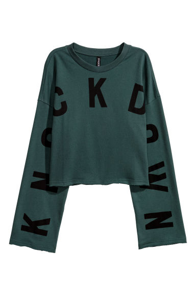 Printed sweatshirt - Dark green - Ladies | H&M