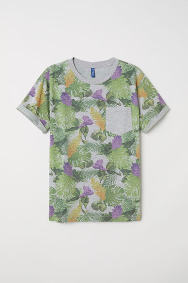 T-shirt with turn-up sleeves - Grey marl/Floral - Men | H&M