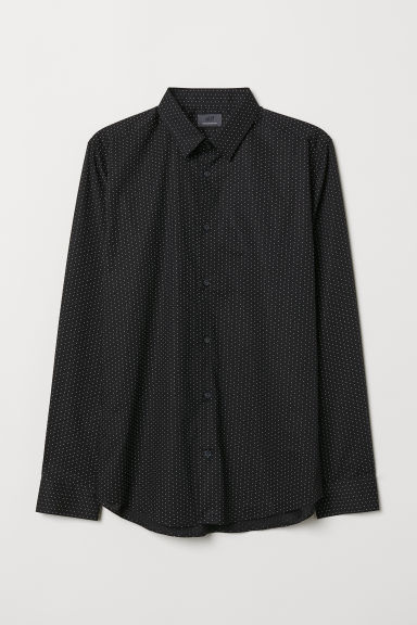 Premium cotton shirt - Black/White spotted - Men | H&M CN