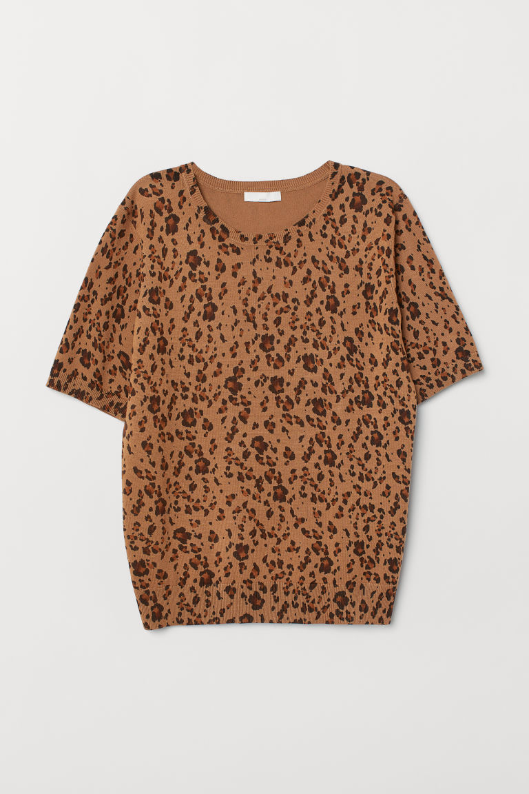 Fine-knit jumper - Light brown/Leopard print - Ladies | H&M