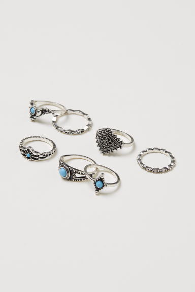 7-pack rings - Silver-coloured/Turquoise -  | H&M CN