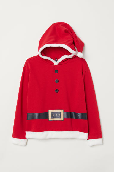 H&M+ Printed hooded top - Red/Santa - Ladies | H&M CN