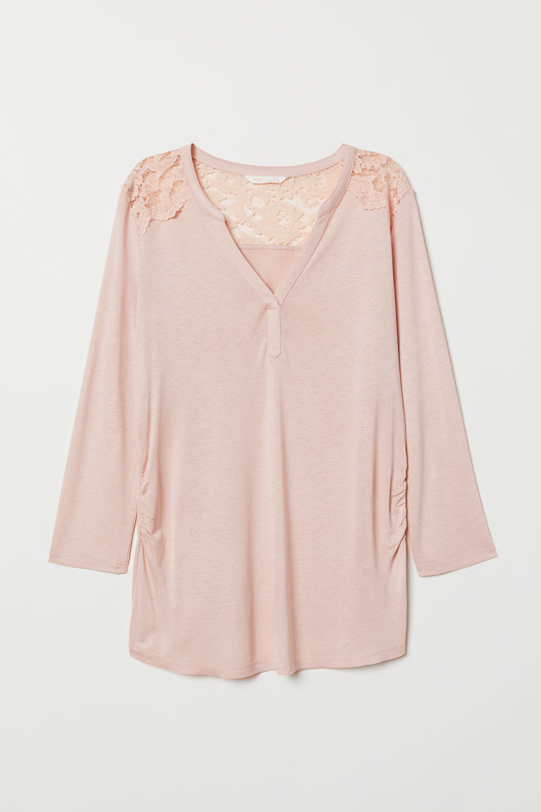 MAMA Top met kant - Poederroze - DAMES | H&M BE