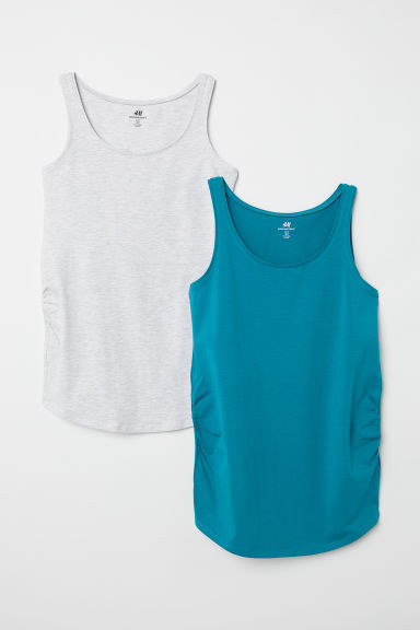 MAMA 2-pack jersey vest tops - Light turquoise/Grey marl - Ladies | H&M