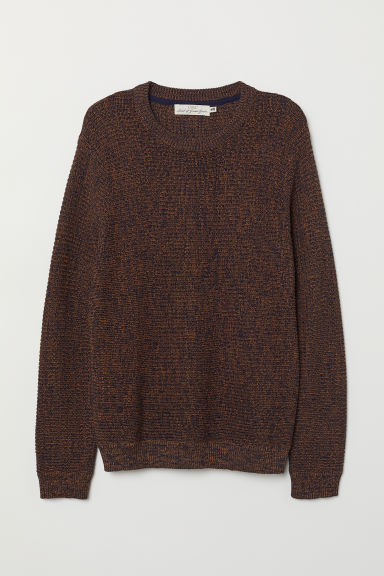 Textured-knit cotton jumper - Dark orange - Men | H&M