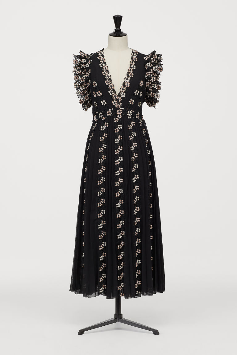 Chiffon Dress with Lace - Black/white floral - Ladies | H&M US