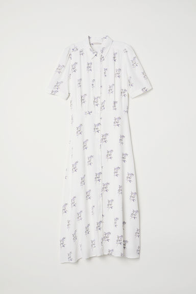 Dress with pin-tucks - White/Floral -  | H&M