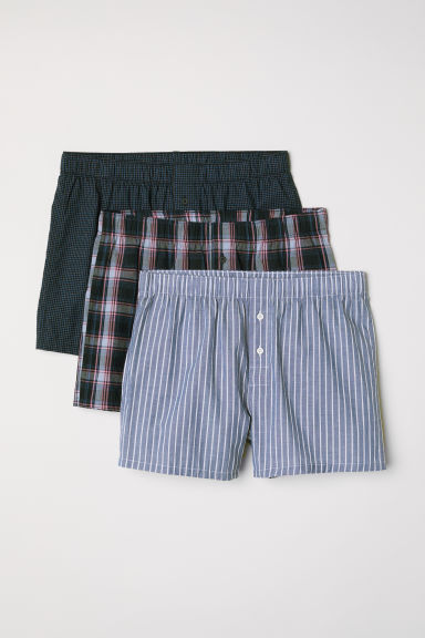 3-pack woven boxer shorts - Dark blue/Multicoloured -  | H&M