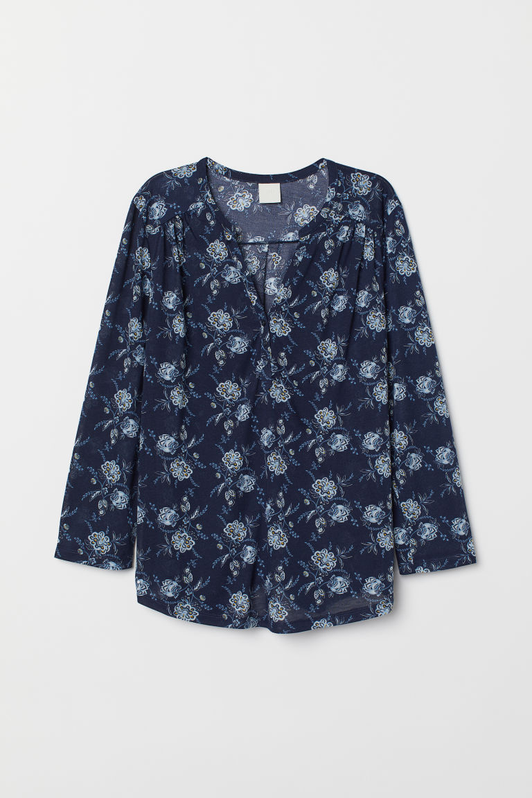 V-neck top - Dark blue/Patterned - Ladies | H&M