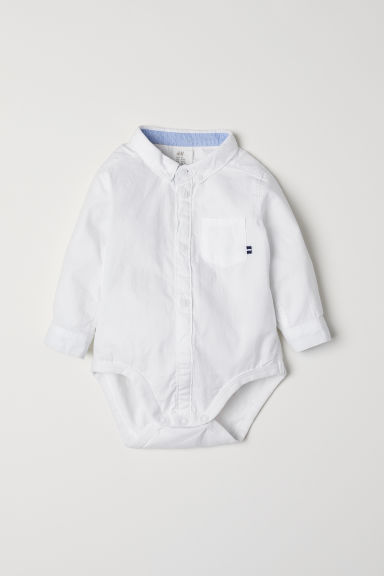 Cotton shirt-style bodysuit - White - Kids | H&M