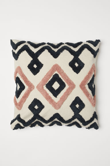 Embroidered cushion cover - Light beige/Pink - Home All | H&M CN
