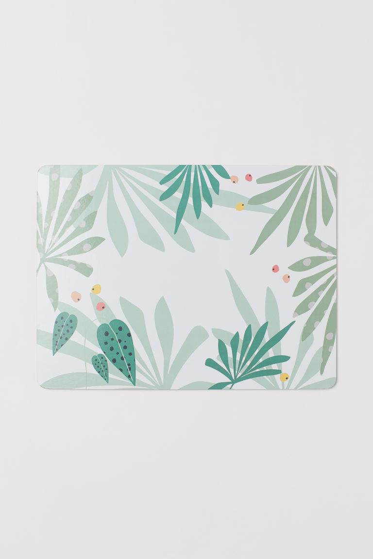 Mantel individual impreso - Verde/Estampado de hojas - Home All | H&M MX