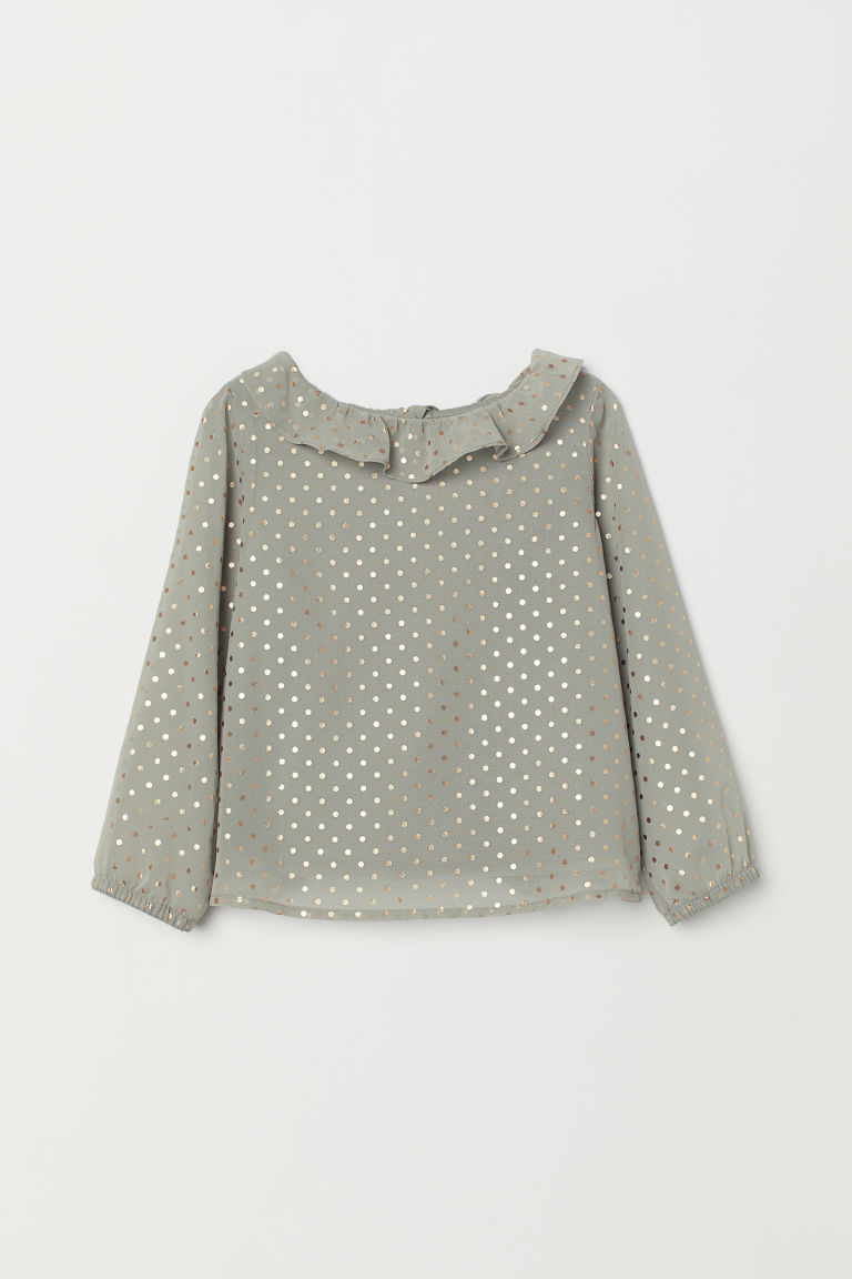 Blouse with a frilled collar - Khaki green/Spotted - Kids | H&M CN