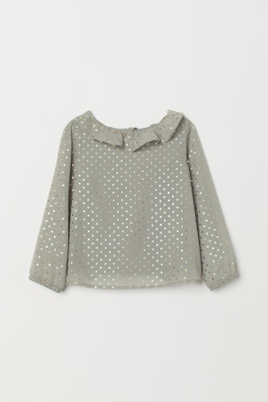 Blouse &agrave  col &agrave  volant